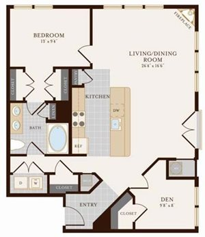 One Bedroom One Bath with Den 987 sq ft
