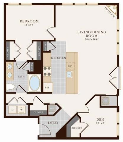 One Bedroom One Bath with Den 987 sq ft Floor Plan 6