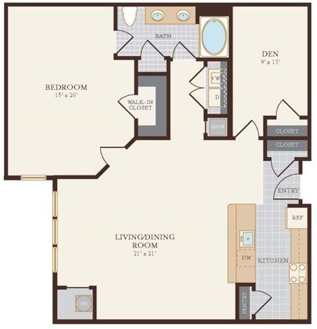 One Bedroom One Bathroom with Den 1173 sq ft Floor Plan 11