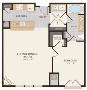 One Bedroom One Bathroom 958 sq ft
