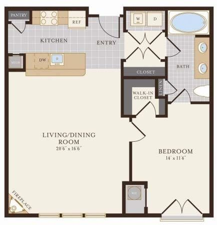 One Bedroom One Bathroom 958 sq ft Floor Plan 5