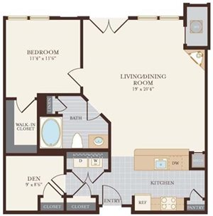 One Bedroom One Bathroom with Den 884 sq ft.