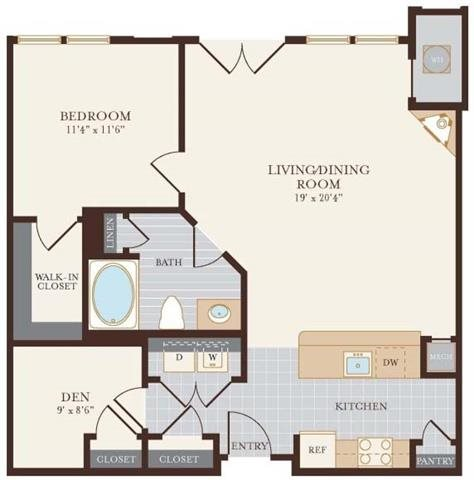 One Bedroom One Bathroom with Den 884 sq ft. Floor Plan 4