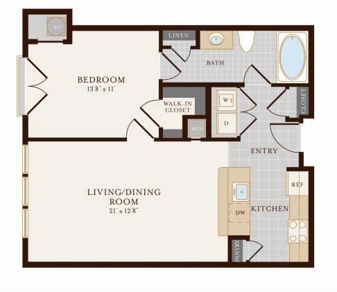 One Bedroom One Bathroom 701 Sq ft Floor Plan 1