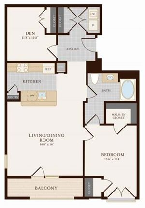 One Bedroom One Bathroom with Den 1026 sq ft