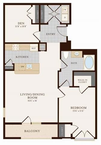 One Bedroom One Bathroom with Den 1026 sq ft Floor Plan 8