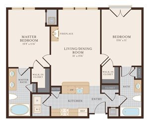 Two Bedroom Two Bathroom 1122 sq ft