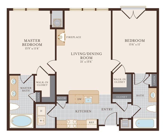 Two Bedroom Two Bathroom 1122 sq ft Floor Plan 13