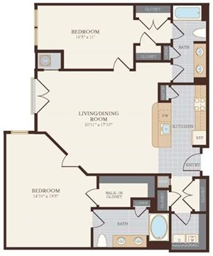 Two Bedroom Two Bathroom 1328 sq ft