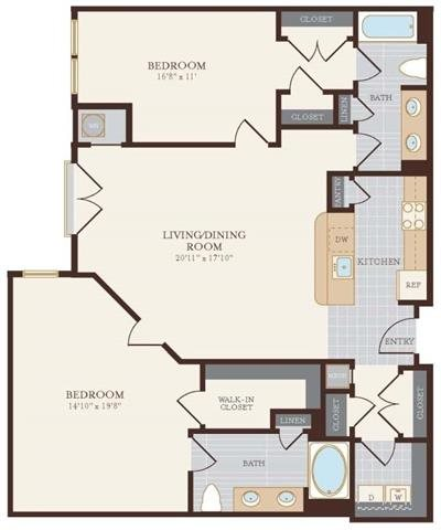 Two Bedroom Two Bathroom 1328 sq ft Floor Plan 15