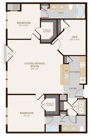 Two Bedroom Two Bathroom with Den 1375 sq ft
