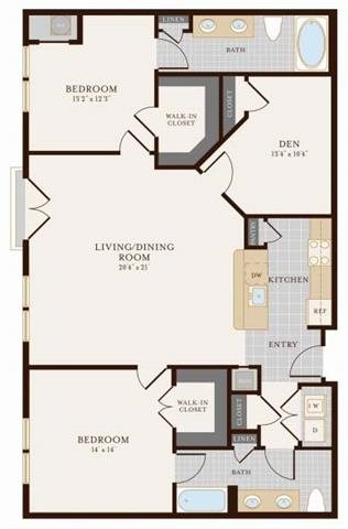 Two Bedroom Two Bathroom with Den 1375 sq ft Floor Plan 16