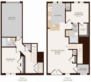 2 Bedroom 2 Bathroom Townhome 1405 sq ft