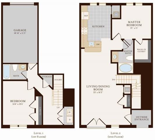 2 Bedroom 2 Bathroom Townhome 1405 sq ft Floor Plan 17