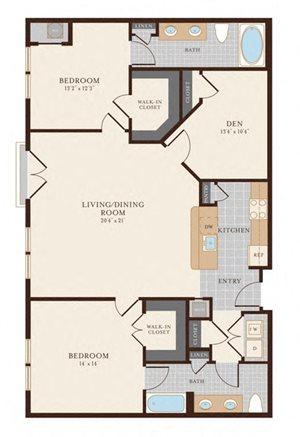 2 Bedroom 2 Bathroom with Den 1412 sq ft
