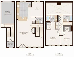 Two Bedroom Two Bathroom Townhome with Den 2136 sq ft