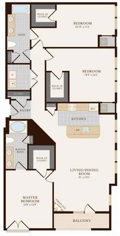 Three Bedroom Two Bathroom 1742 sq ft Floor Plan 20