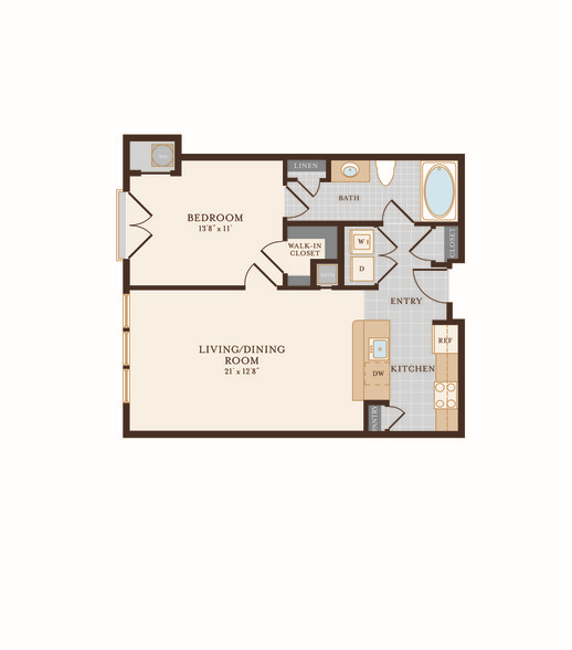 One Bedroom One Bathroom 733 sq ft. Floor Plan 2