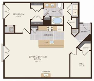 One Bedroom One Bath with Den 1120 sq ft