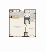 One Bedroom One Bathroom 846 sq ft Floor Plan 3