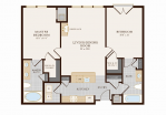Two Bedroom Two Bathroom 1052 sq ft