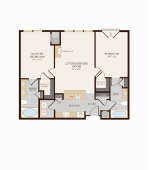 Two Bedroom Two Bathroom 1052 sq ft Floor Plan 12