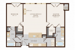 Two Bedroom Two Bathroom 1143sq ft