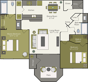 Small Two Bedrooms, Two Bathroom