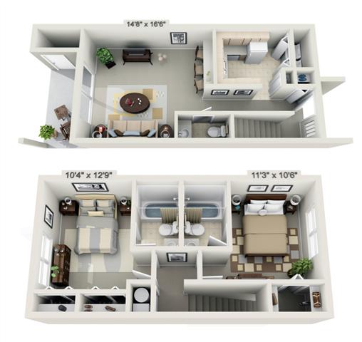 2 Bedroom Townhouse Floor Plan 2