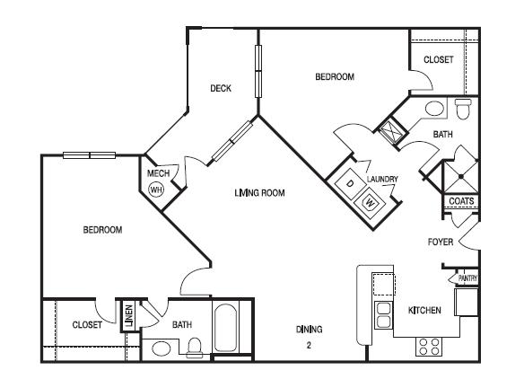 TWO BEDROOM- TWO BATH (C1) Floor Plan 15