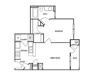 ONE BEDROOM- ONE BATH (A)