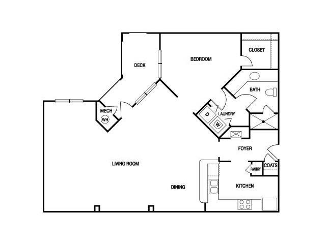 ONE BEDROOM- ONE BATH (A6) Floor Plan 10