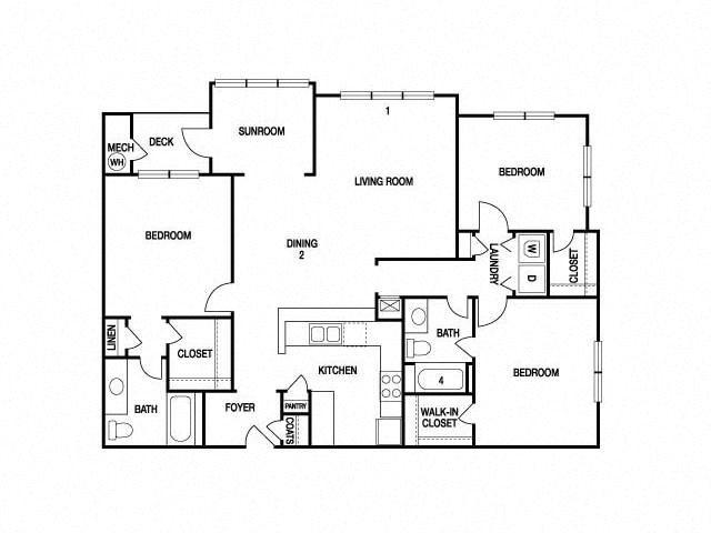 THREE BEDROOM- TWO BATH (D) Floor Plan 20