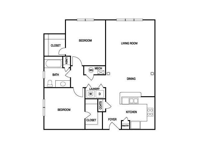 TWO BEDROOM- ONE BATH (B) Floor Plan 13
