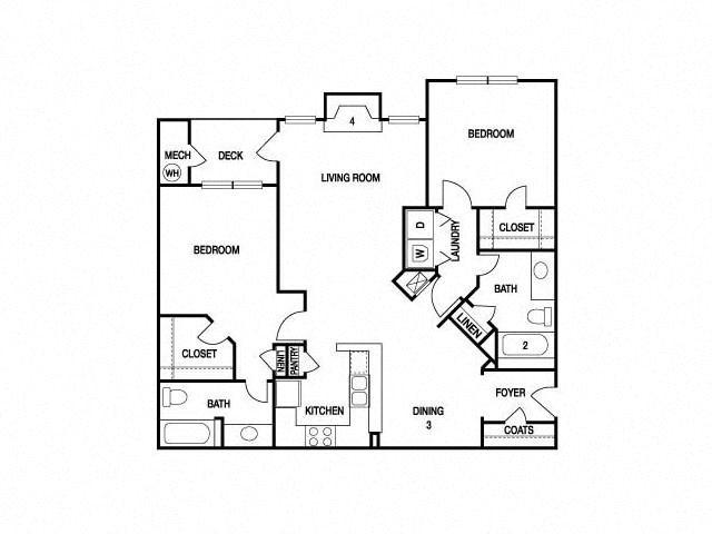 TWO BEDROOM- TWO BATH (C2) Floor Plan 16