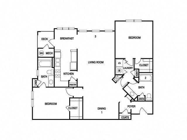 TWO BEDROOM- TWO BATH (C4) Floor Plan 18