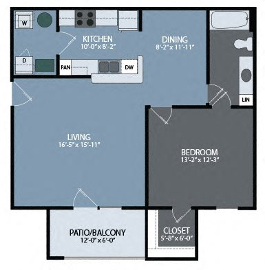 One Bedroom Unit Floor Plan 1