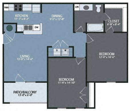 Two Bedroom / One Bath Unit Floor Plan 2