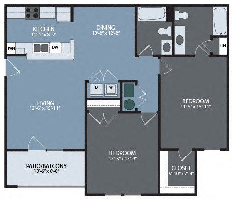 Two Bedroom / Two Bath Unit Floor Plan 3