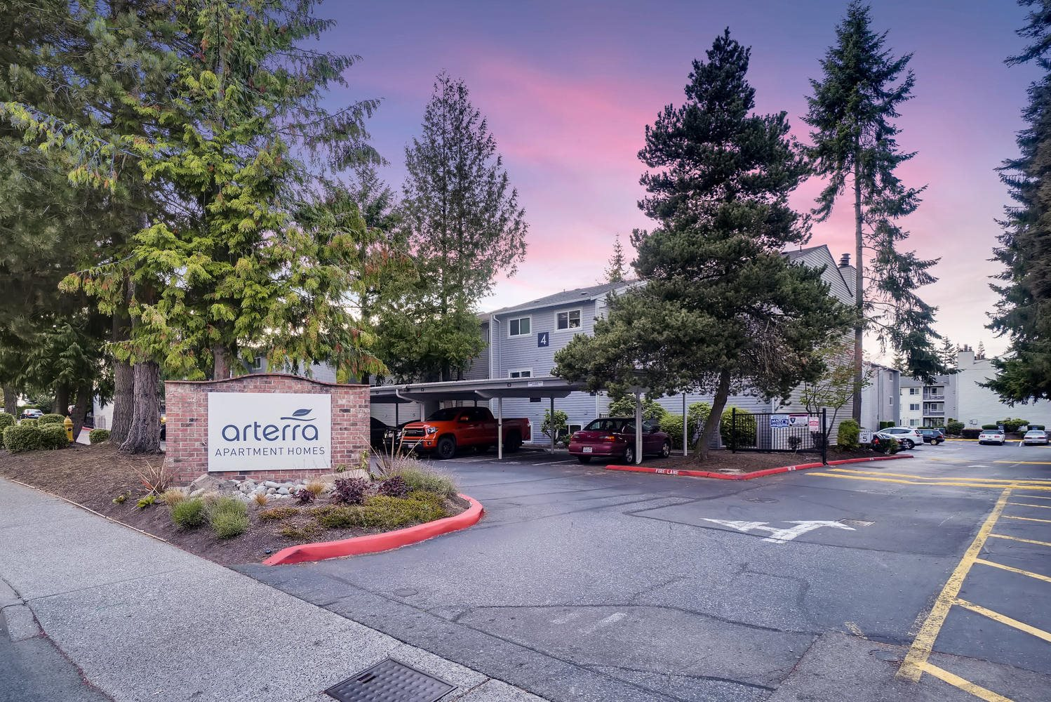 Arterra Apartments Front Entrance and Monument Sign