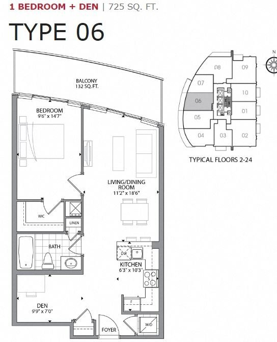 One bedroom plus den, one bathroom apartment layout at Cityview Apartments in Brampton, ON