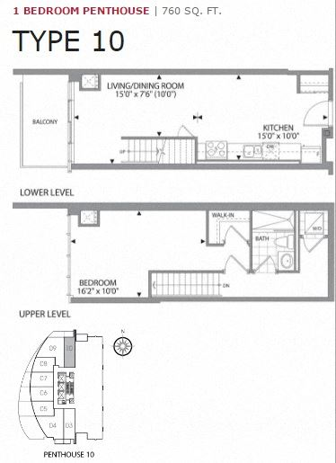 One bedroom, one bathroom apartment layout at Cityview Apartments in Brampton, ON