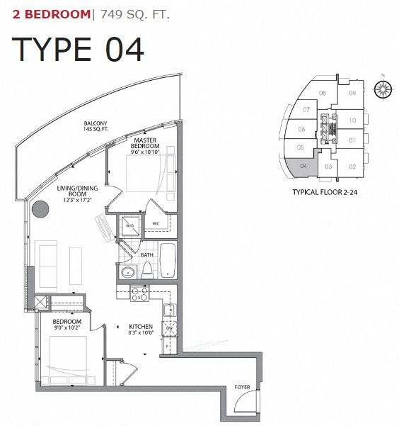 Two bedroom, one bathroom apartment layout at Cityview Apartments in Brampton, ON