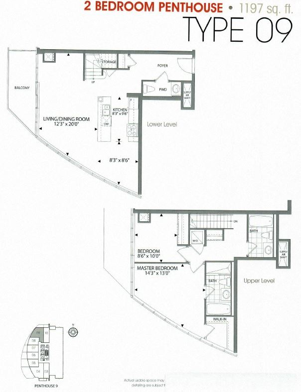 Two bedroom, two bathroom apartment layout at Cityview Apartments in Brampton, ON