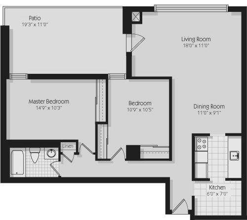 Floor plan of 2 bed, 1 bath, open concept apartment with balcony access at 190 Cityview Apartments in Brampton, ON