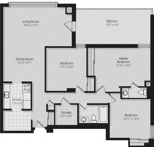 Floor plan of 3 bed, 2 bath, contemporary apartment at 190 Cityview Apartments in Brampton, ON