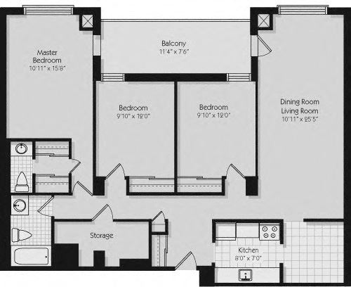 Floor plan of 3 bed, 2 bath, quality apartments with city view at 190 Cityview Apartments in Brampton, ON