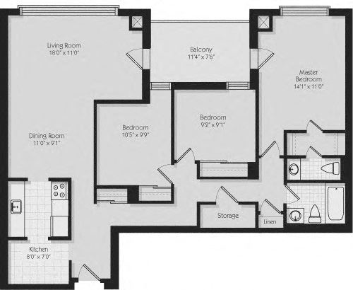 Floor plan of 3 bed, 2 bath, upscale apartment at 190 Cityview Apartments in Brampton, ON