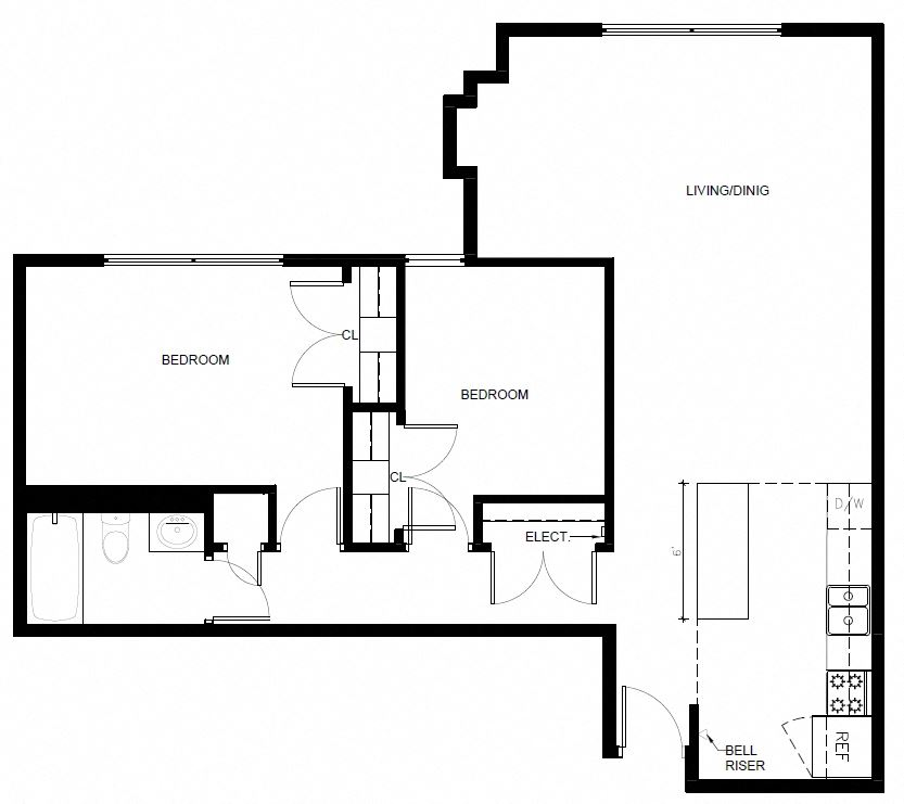 Floor plan of 2 Bed, 1 Bath at 190 Cityview Apartments in Brampton, ON