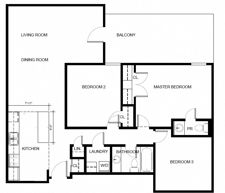Floor plan of 3 Bed, 2 Bed at 190 Cityview Apartments in Brampton, ON